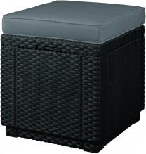 Taburet ratanový Cube grafit s poduškou