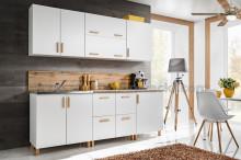 Kuchyňská linka LAHTI  220 cm bílá/buk
