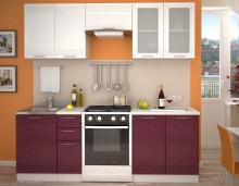 Kuchyňská linka GREECE 160/220 cm bílá/granátový metalic