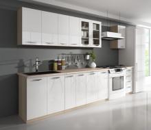 Kuchyňská linka PETRA 260 cm dub sonoma/bílý lesk