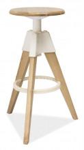 Barová židle BODO bělený dub/bílá