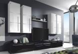 Obývací stěna BARR bílá/černá vysoký lesk
