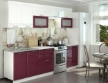 Kuchyňská linka GREECE 200/260 cm bílá/granátový metalic
