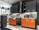 Kuchyňská linka VALERIA 240 cm oranžová/antracit lesk