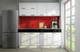Kuchyňská linka GIGUE 180 cm bílý lesk/černý pás