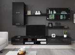 Obývací stěna VARESA černá/černý lesk