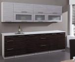 Kuchyňská linka POSNANIA 260 cm tmavé/světlé zebrano