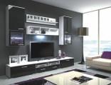 Obývací stěna Franco bílá/černá vysoký lesk